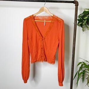 Free People Orange Thermal Lace Detail V Neck